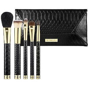 SEPHORA COLLECTION Luxe Face Brush Set by SEPHORA COLLECTION. $48.00. A five-piece collection of high-quality brushes for eyes and face. Be the envy of all your friends with this set of luxurious brushes designed for graceful makeup application. The collection comes with every brush you� ll need to conquer the hottest makeup looks, to a flawless natural face to a dangerously smoky eye. Each brush is adorned with a gold ferrule and a sleek black handle tipped in g...