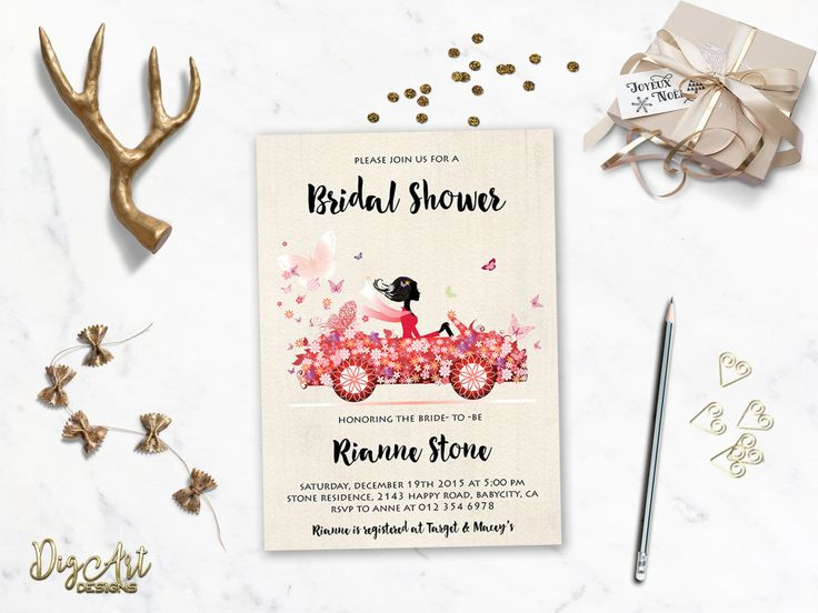 REPIN NOW for later! Bridal Shower Invitation Printable Red Pink Bridal Shower Invite Floral Car Bridal Shower Modern Funny Fancy Bridal Shower DIY Digital File by DigartDesigns on Etsy