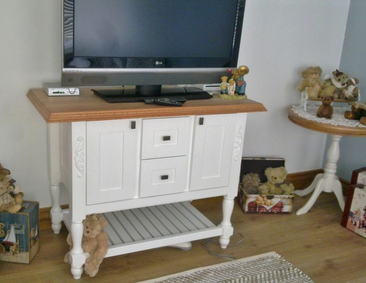Country - White Duco with solid red Oak top TV unit
