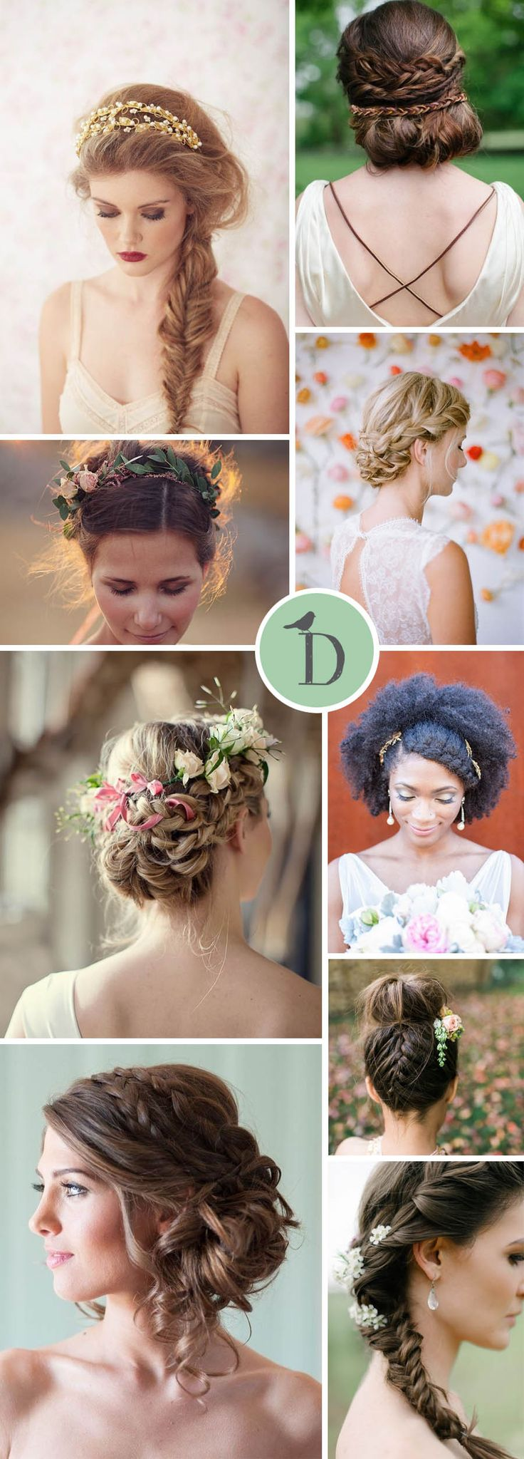 BEAUTIFUL BRIDAL BRAIDS I am such a fan of braids and plaits in bridal hairstyles. They can be polished and chic, or boho and romantic. Chunky side fishtail braids are a simple style to go for, and lo(Prom Hair Fishtail)
