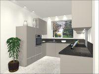 visual 2 - U-Keuken 235x270x310 cm, 5 inbouwapparaten, HPL op watervast multiplex werkblad
