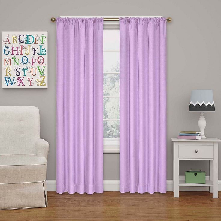 eclipse MyScene Kendall Kids Thermaback Blackout Curtain, Lt Purple