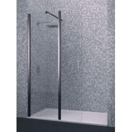 Mampara de ducha modelo Calanda, cristal de seguridad con una hoja fija y otra abatible