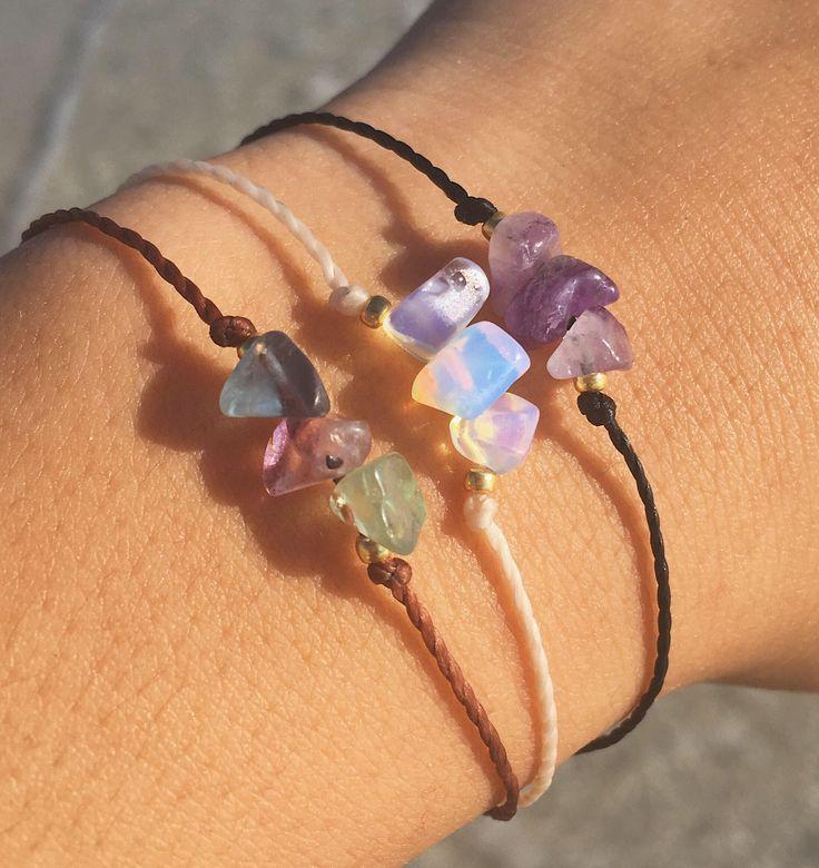 Crystal Chip Wish Bracelet / Tie On Bracelet / Crystal Chip Bracelet / Stone Chip Bracelet / Crystal Bracelet / Minimalist Bracelet by TerrestrialTreasure on Etsy https://www.etsy.com/listing/517148618/crystal-chip-wish-bracelet-tie-on