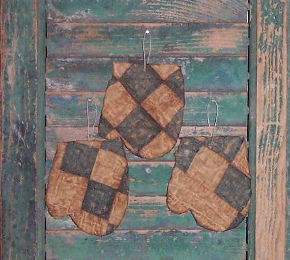 Tattered Mitten Ornaments, made from antique quilt by Prairie Primitives Folk Art. $14 for the set of 3 on Etsy!