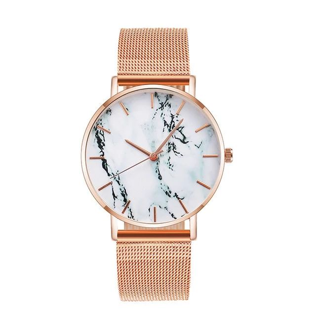 Fashion Rose Gold Mesh Band Creative Marble Wrist Watch