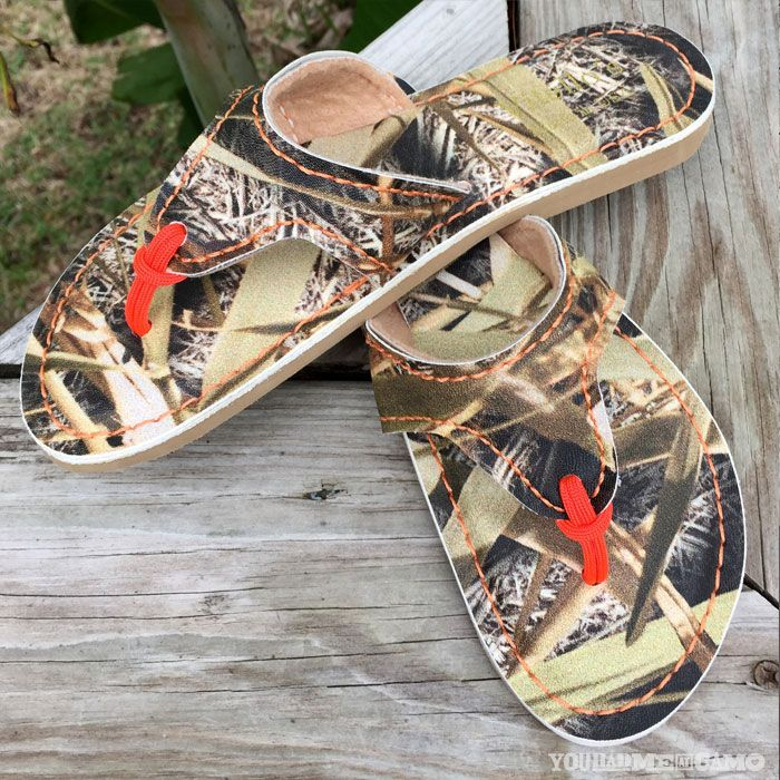 Camo & Orange Flip Flops, made in the USA