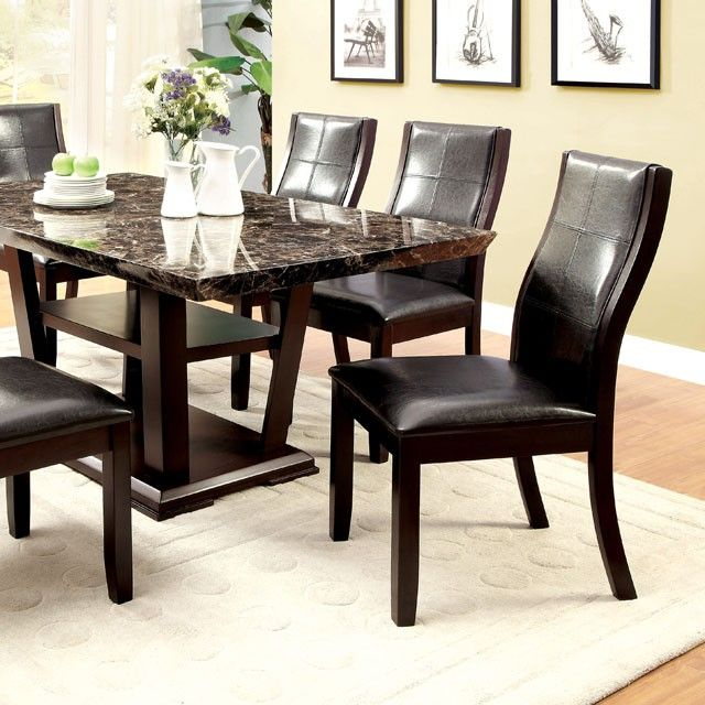 Incroyable SKU Cm3933t Casual Set Brown Wood Rectangular Dining Table Faux Marble Top  And 6u2026