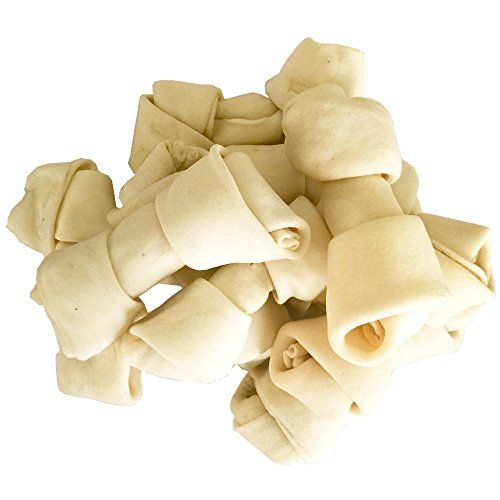 """Pet Magasin Rawhide Bone Treats for Dogs, 4-5 Inch Natural Beef Rawhide Chews, 10-Count Bag. Satisfy your dog's love of chewing the natural way, with 100% pure rawhide. 10-count bag of 4 to 5 inch bone-shaped rawhide chews for small to medium dogs. Helps clean your pet's teeth, promotes healthy gums, and improves dog's breath. Also helps prevent destructive chewing. Tough and long-lasting, with a natural meaty flavor, each """"bone"""" will give your dog hours of chewing pleasure. Proudly made…"""