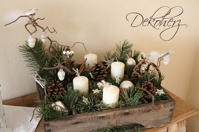 Love this arrangement! Could do this in a cheese box. I like the branches in it.