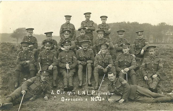 Officers and NCOs of A coy, 1/12th battalion, Loyal North Lancashire Regiment #WW1Centenary #WW1 Thanks to Roger Morlidge