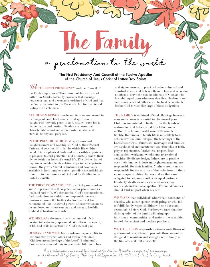 Effortless image regarding the family a proclamation to the world printable