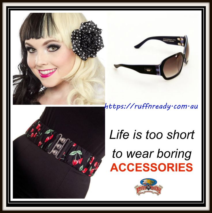 Before you go out, accessorize!  Choose here >> https://ruffnready.com.au/product-category/accessories/  #Accessories #RuffnReadyAccessories #SourpussClothing #HairClip #HellBunny #CherryPopBelt #Belt #CrownDeluxe