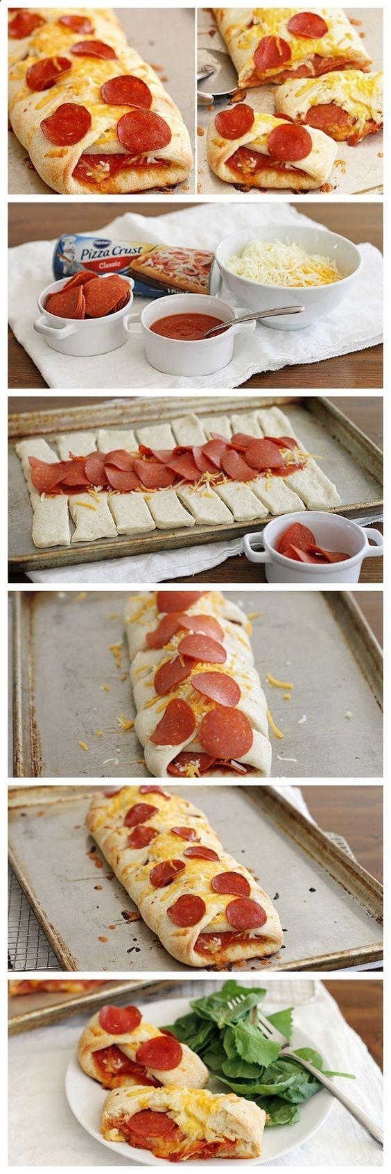Pepperoni pizza braid