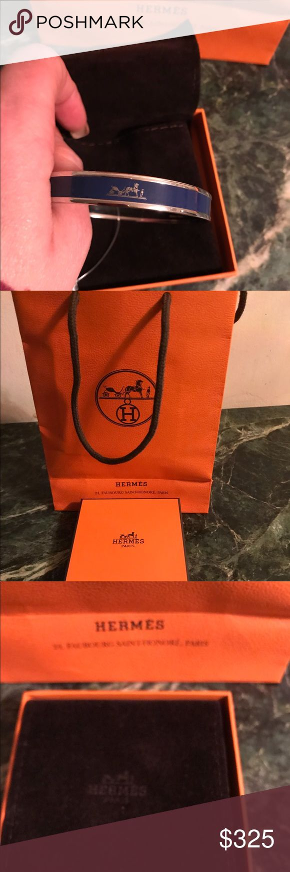 100%Authentic Hermès bangle Cobalt blue and silver New with tags size 70 Hermes Jewelry Bracelets