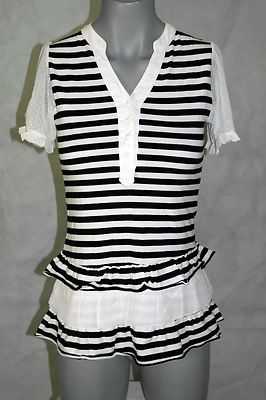 Casablank Black White Strip Dress with White Lace Sleeves Junior size M