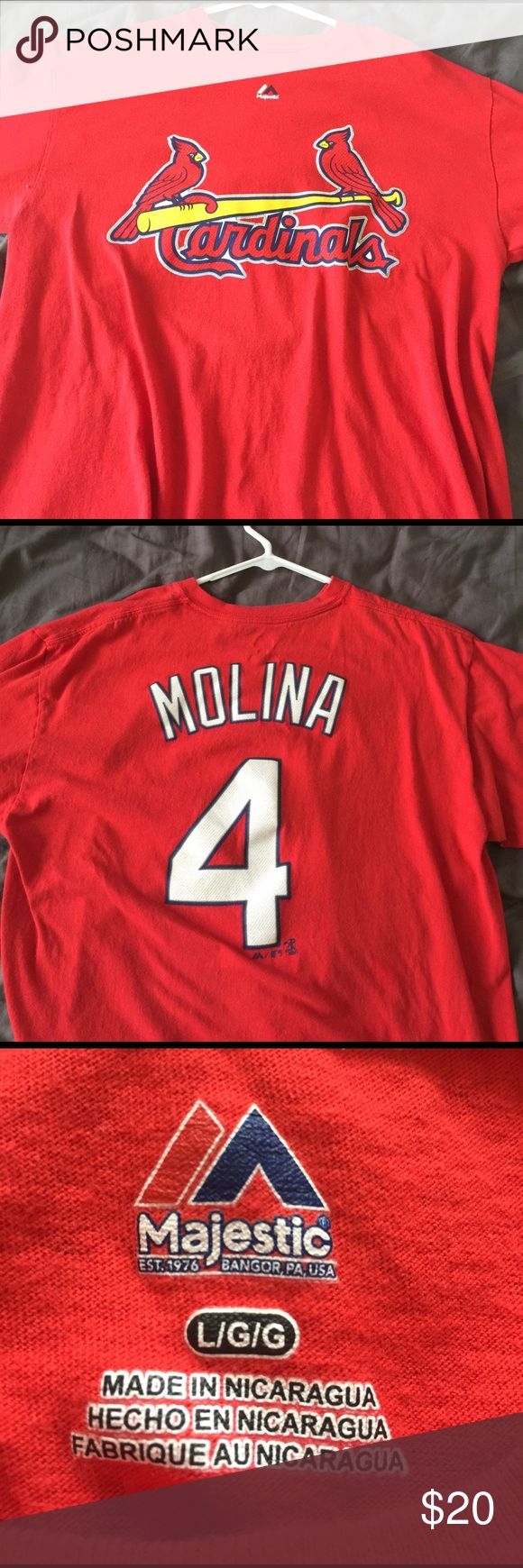 St. Louis Cardinals Yadier Molina Jersey Shirt Men's size large, great condition. Majestic Shirts Tees - Short Sleeve