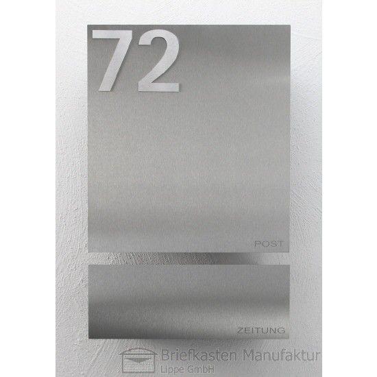 Edelstahl Wandbriefkasten Designer Modell 120 mit Zeitungsrolle & Hausnummer