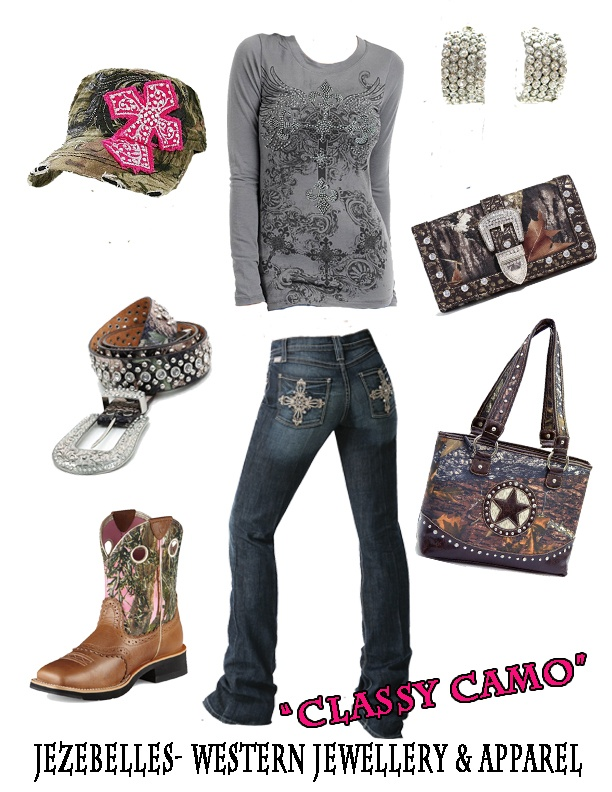 """""""classy camo"""" find these and other great items on our fb page! http://www.facebook.com/jezebelles"""