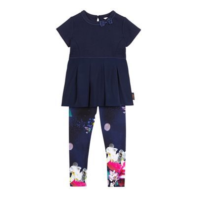 Baker by Ted Baker Girls' navy textured pleated top and graphic print leggings set | Debenhams