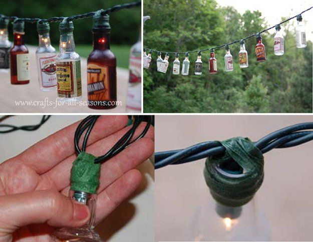 Materials Needed:  A string of white holiday lights A collection of small booze bottles Floral tape Scissors