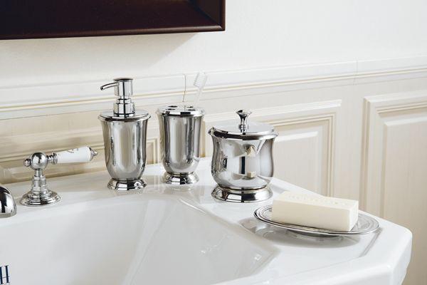 Dame ceramic dispenser, toothbrush and freestanding cotton holder chrome.