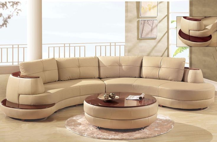 Luxury Beige Sectional Curved Shaped Sofa Design Ideas For