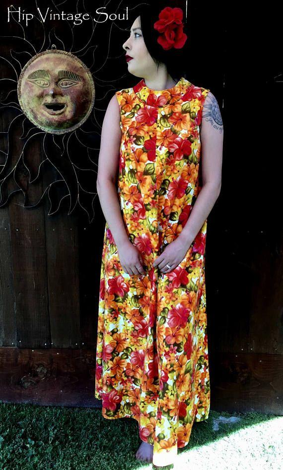 Vintage 1960's Hawaiin Dress Richard Douglas Honolulu