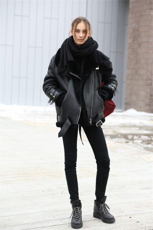 NYFW Street style is favoring motocross cool with an oversized scarf. Stay warm and look trendy? Sign us up.