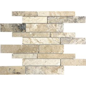 Pablo Travertine Natural Stone Mosaic Wall Tile (Common: 12-in x 12-in; Actual: 12-in x 12-in)