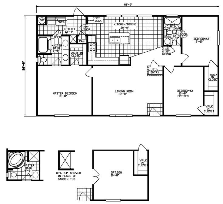 27 best manufactured homes images on pinterest for 28x48 house plans