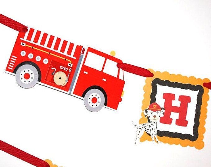Fuego carro cumpleaños Banner Banner Firetruck Firetruck nombre personalizado, Banner de cumpleaños de dálmatas bomberos, fuego carro fiesta decoración del partido