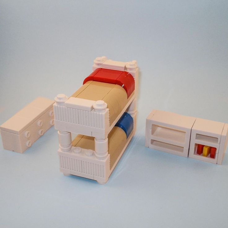 LEGO Furniture: Kids Bunk Bed Bedroom Collection - w/ Dresser & Custom Shelves #InteriorBricks