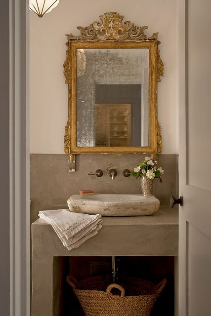 powder_room_0468 by peter vitale- Love the balance of modern + antiques