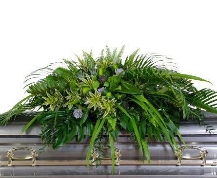 casket sprays mixed greens   Casket Spray Featuring Foliage and Succulents