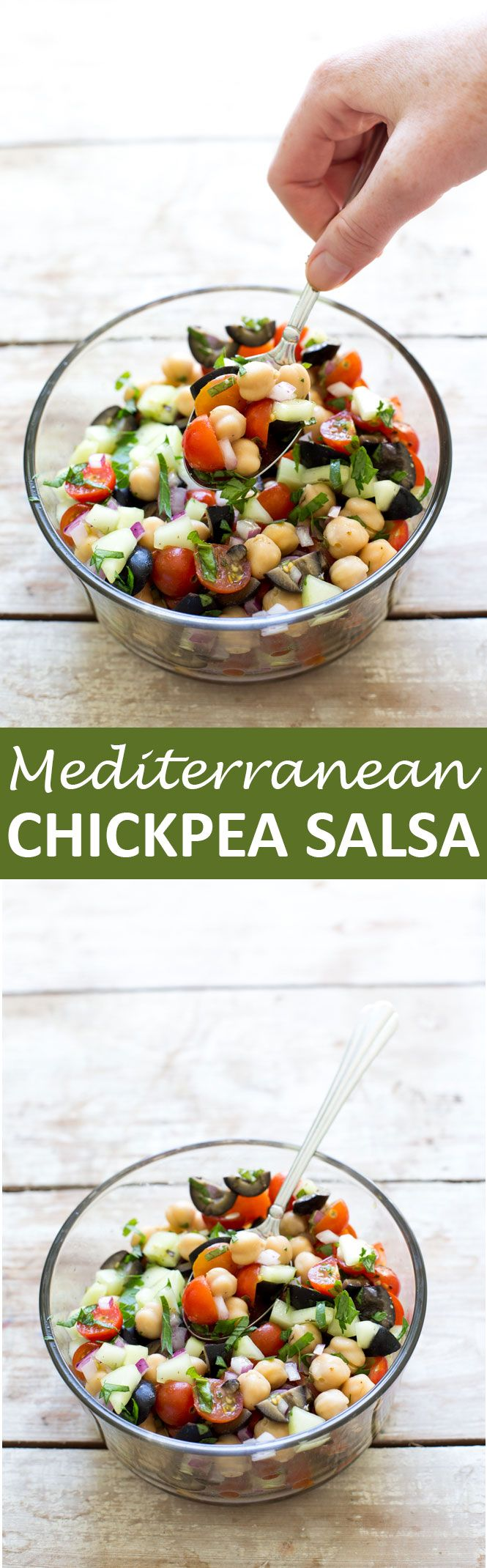 Super Easy Mediterranean Salsa. Light, healthy and loaded with tons of flavor. Serve as an appetizer or side dish!