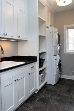 laundry room needs space for:  w/d, baskets, hampers, sink, iron, fold, detergent storage. maybe hanging
