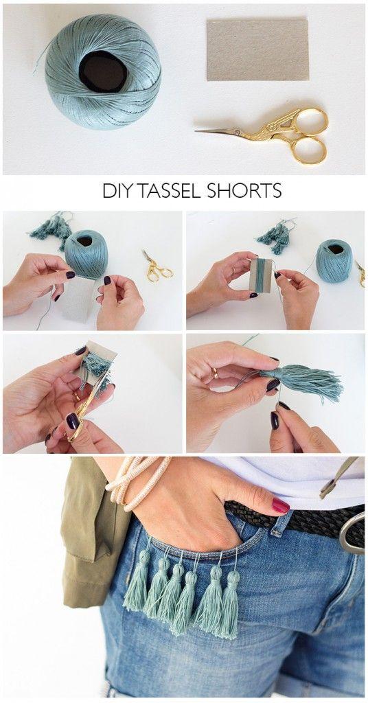 DIY Tassel Shorts - statt lang und mit tasseln: kurz und mit Münzen
