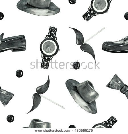 fashion watercolor seamless pattern black and white