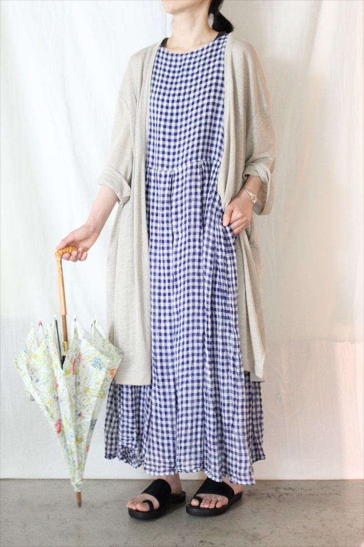 GINGHAM BOX PLEATS DRESS