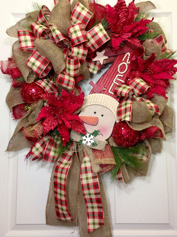 Christmas Mesh Wreath by WilliamsFloral on Etsy, $125.00