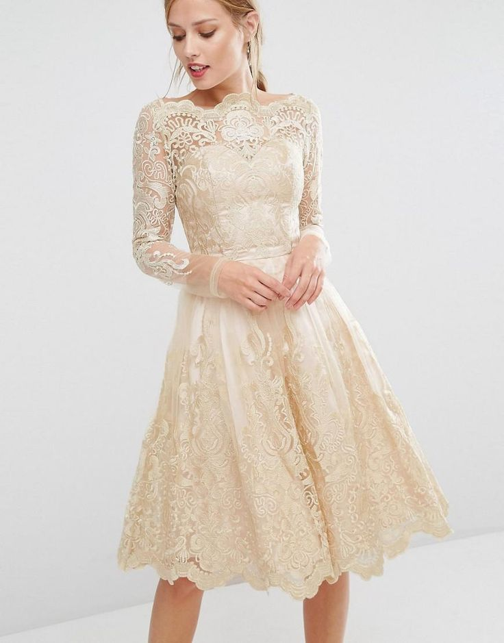 Chi Chi London | Chi Chi London Premium Lace Metallic Gold Midi Dress at ASOS