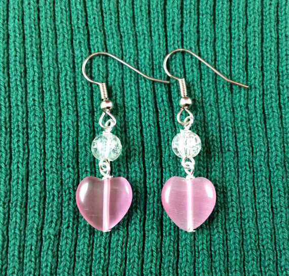 Pink Heart And Crystal Valentine Earrings Dangle By Angelicbeaders