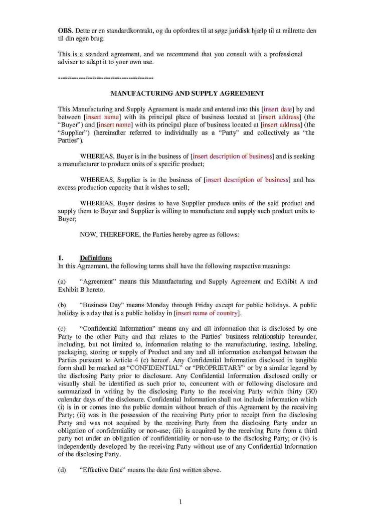 Download Manufacturing And Supply Agreement Style Template ...