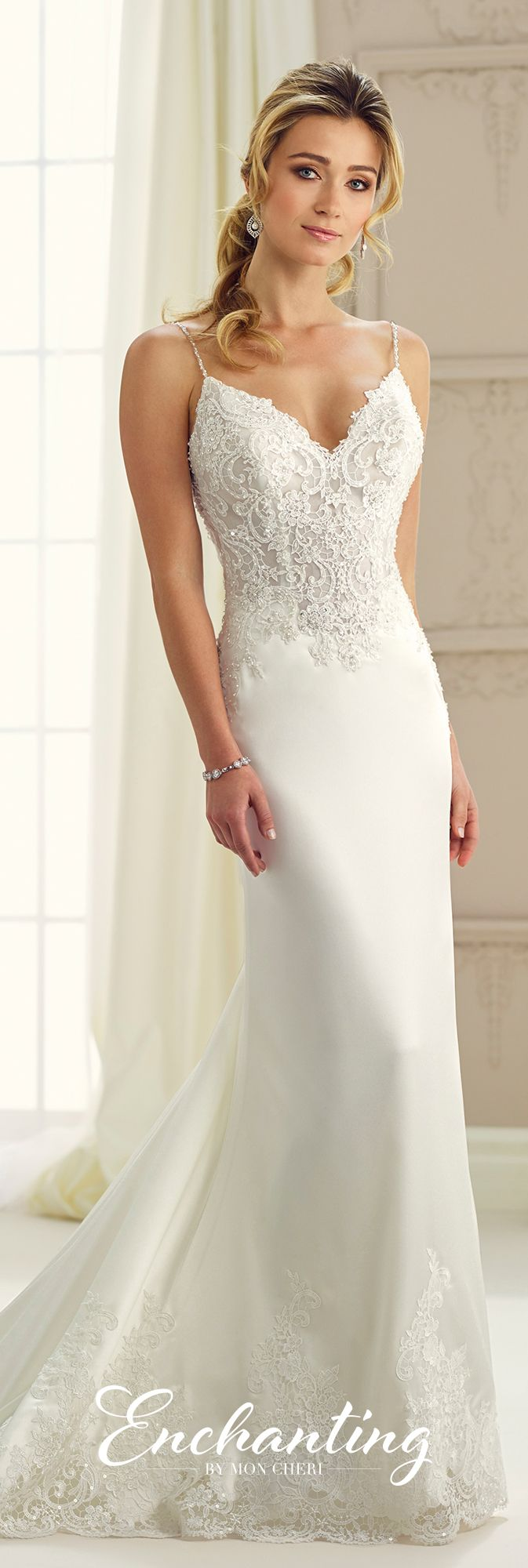 Enchanting by Mon Cheri Fall 2017 Collection - Style 217123 - sleeveless satin and lace sheath wedding dress with hand-beaded spaghetti straps