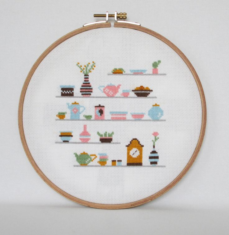 Kitchen Shelves Cross Stitch pattern-cups, clock, plants, teapots, boxes, PDF, instant download by BisforBumblebee on Etsy https://www.etsy.com/listing/189336486/kitchen-shelves-cross-stitch-pattern