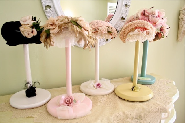Paper Towel Holder Hat Stands (add 1/2 styro ball, covered in fabric + lace or whatever do-dads)