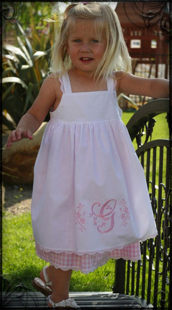 If I had a little bitty girl :) Monogrammed Pinafore Dress..ok I can't sew..but…