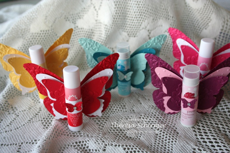 Lip Balm Butterflies... great idea for Emma's friends at school for Christmas gifts. :-)