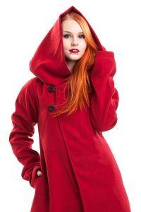 Poizen Industries - Roter Fleece Mantel mit grosser Kapuze